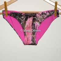 Pink Camo Hips Bikini Bottom, Brazilian Bikini Bottoms, Fully Lined Cheeky Swim Suit Bottom