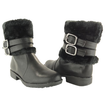 Womens Ankle Boots Leather Faux Fur Cuff Ankle Wrap Buckles Pu SZ