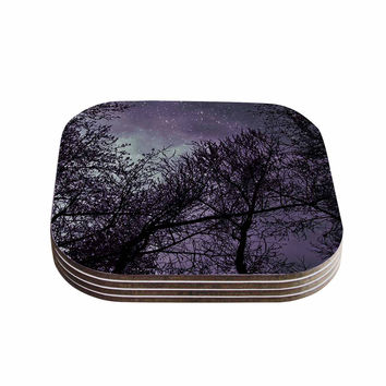 "Sylvia Coomes ""Purple Sky"" Lavender Black Coasters (Set of 4)"