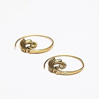 Tribalik Womens Ornate Swirl Earring - Brass, One