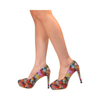 Colorful paint strokes Women's High Heels (Model 044) | ID: D1968250