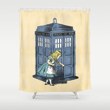 Alice: through the tardis box Shower Curtain by Budi Satria Kwan