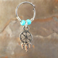 Dream Catcher Beaded Cartilage Hoop Silver Earring Boho Tragus Helix Piercing