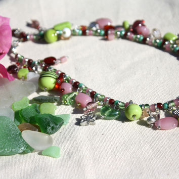 Apple Green & Pink Recycled Glass Charm Bracelet & Necklace