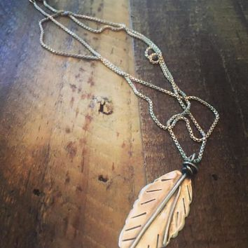 Sterling Silver Feather/ Leaf  charm necklace. Handmade jewelry
