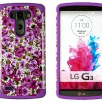 DandyCase 2in1 Hybrid High Impact Hard Lavender Garden Floral Pattern + Purple Silicone Case Cover For LG G3 - Includes DandyCase Keychain Screen Cleaner