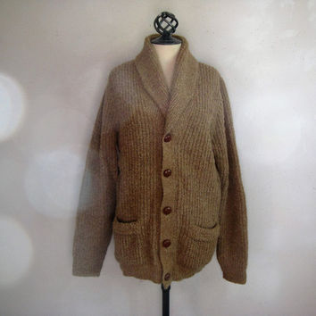 Vintage 1980s Shawl Cardigan Camel Brown Knit Mens Sweater w-Elbow Patches Large