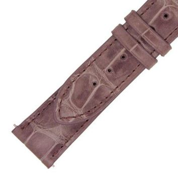 Hadley Roma 20 MM Shiny Mauve Alligator Leather Strap