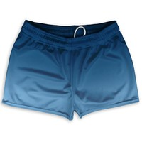 "Navy and Carolina Blue Ombre Shorty Short Gym Shorts 2.5""Inseam"