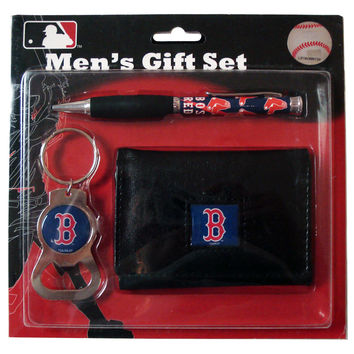 Boston Red Sox Tri-Fold Wallet With Pen & Keychain Gift Set