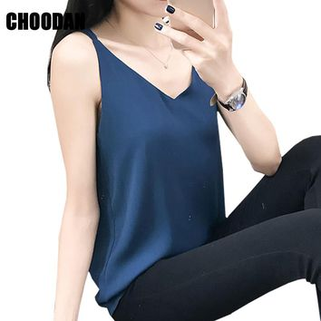 Chiffon Tank Top Summer Women Tops 2018 New Korean Style 2017 Sleeveless Camisoles V-neck Spaghetti Ladies Tanks Female Clothes