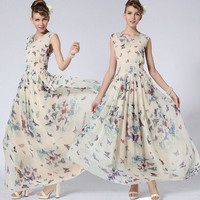 Women Fashion Clothing Summer Sleeveless Butterfly Floral Print Chiffon Maxi Long Slim Beach Dress Party Evening Cocktail Dress
