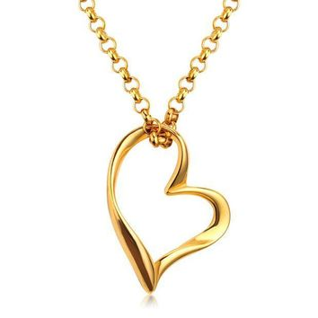 ESBONHC 2017 New Products Fashion Chain Necklace Titanium Steel Heart Puzzle Pendant Lover Necklaces For Women/Girl