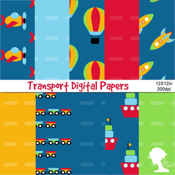 Digital Papers: Cartoon Transport including Vehicles, Aeroplane, Helicopter, Ships, Boat, Bicycle in Bright Colors