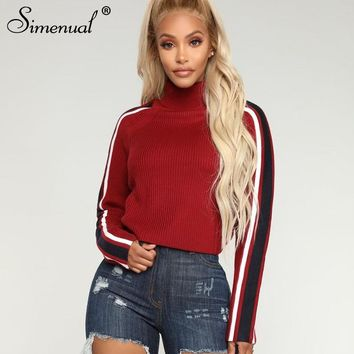 Simenual Striped turtleneck sweaters fashion women knitted clothing long sleeve red lady sweater autumn winter pullovers
