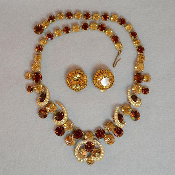 Weiss Rhinestone Necklace & Earring Set Vintage