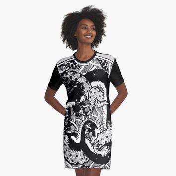 """""""Tentacle Monster Round B&W Illustration"""" Graphic T-Shirt Dress by epoliveira 