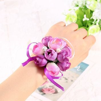 Big Sale Wedding Ornaments Silk Bridal Bridesmaid Handmade Bouquet Hand Flowers Wrist Corsages 5Color 1pcs