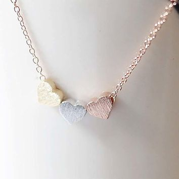 Simple Trendy Rose Gold Silver Color Three Heart Pendant Necklace  Valentine Gift