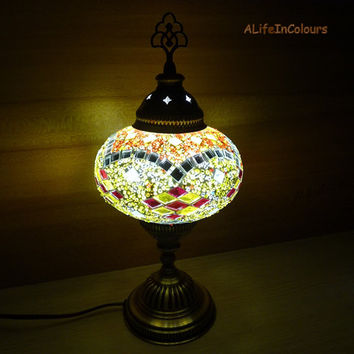 Colourful handmade authentic Turkish glass mosaic bedside lamp, table lamp, bedroom night lamp, kid's room lamp.