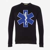 Star of Life  EMT Symbol fleece crewneck sweatshirt