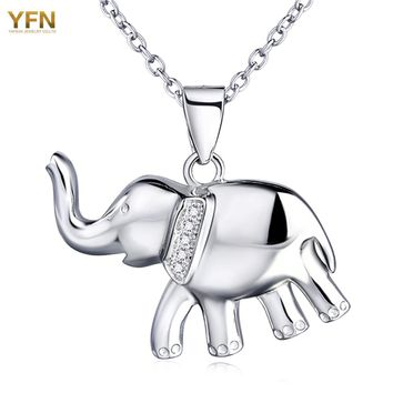 YFN Genuine 925 Sterling Silver Elephant Pendant Necklace Fashion Jewelry Cubic Zirconia Necklace For Women Collares GNX0456