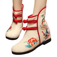 Vintage Beijing Cloth Shoes Embroidered Boots 12-01   beige  35