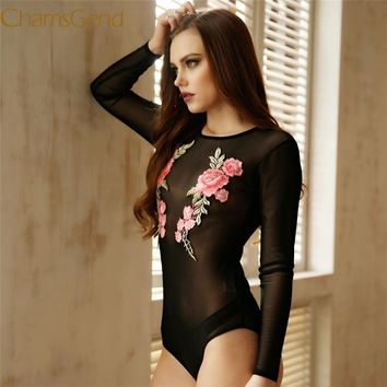 Chamsgend Women Sexy See-Through Full Sleeve Mesh Bodysuit Black Skinny Rompers Jumpsuit with Rose Flowers 170607