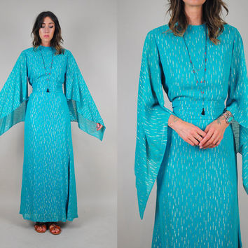 vtg 1960's DRAPED Grecian angel sleeve DRESS cocktail maxi gold metallic tent kimono sleeve chiffon