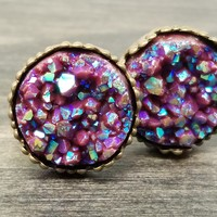 Ab dark maroon faux druzy in Crown stud earrings (you pick setting tone)