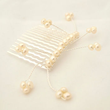Isobelle Pearl Hair Comb with Sprigs by jewellerymadebyme on Etsy