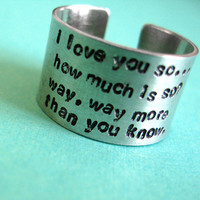 Personalized Long Quote Ring in Aluminum - Fat ring with Lots of Text