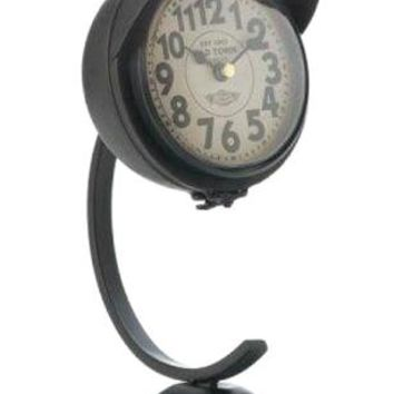 Cast Iron Vintage Black Standing Desk Clock