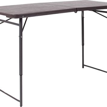 23.5''W x 48.25''L Height Adjustable Bi-Fold Brown Wood Grain Plastic Folding Table with Carrying Handle [DAD-LF-122Z-GG]