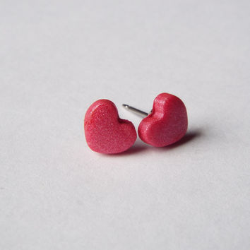 Tiny Pink Heart Stud Clay Earrings