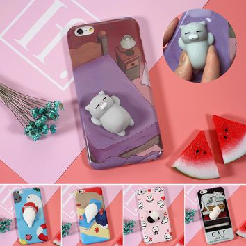 Squishi Phone Case for iPhone 7 7 plus 3D Cute Soft Silicone Pappy Squishy Cat for i6 6s plus Kitty Cover Housing Coque