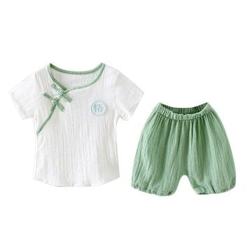 Kids Baby Girls Boys Chinese Style Clothing 2PCS Sets Comfortable Children's Linen Single Breasted T-shirt Tops + Shorts A11