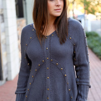 Lovely In Studs Knit {Grey}