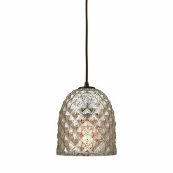 Brimley 1 Light Pendant In Oil Rubbed Bronze With Raised Diamond Texture Mercury Glass