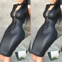 Women Bandage Slim Dress Sleeveless Club Dress Sexy Summer Women Dress PU Leather Skinny Mini Dress