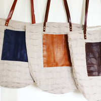 Linen over sized tote bag