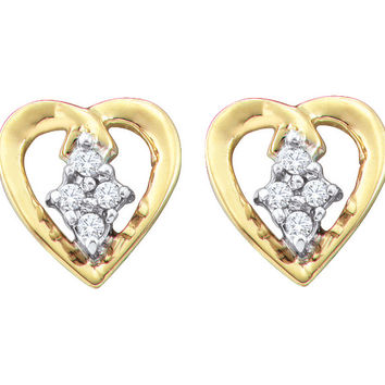Diamond Heart Earrings in 10k Gold 0.08 ctw