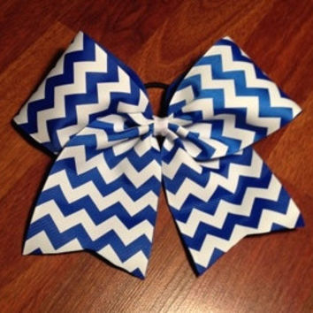 Blue and White Chevron Cheer Bow