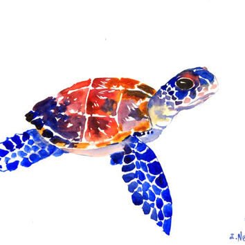 Sea Turtle, Original watercolor painting, 9 X 12 in,  indigo blue gray black sea world animal art, watercolor