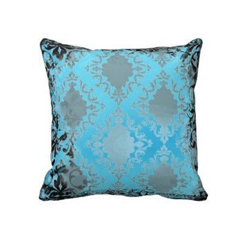 Boho Chic Blue and Black Vintage Throw Pillow from Zazzle.com