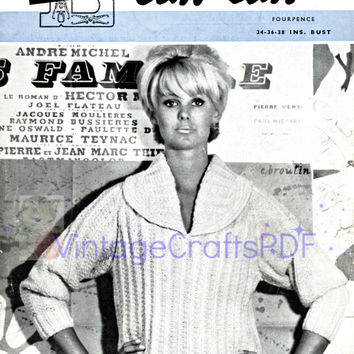 1960s MOD Can Can Sweater-Vintage Knitting Pattern-Mod Fashion-Boho Chic-Hippie-Womans Pattern-MOD Sweater-Groovy Clothes-Vintage Crafts PDF