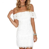 Off Shoulder White Lace Mini Dress