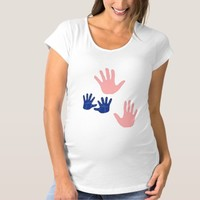 BABY HANDPRINTS BLUE PINK MATERNITY TEE SHIRT