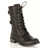 Black Lace Up Double Buckle Boots