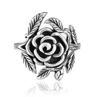 Chuvora 925 Sterling Silver 20 mm Vintage Style Detailed Rose with Leaves Ring for Women - Nickel Free:Amazon:Jewelry